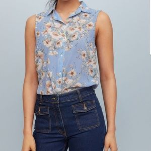 H&M FLORAL PINSTRIPED BLOUSE